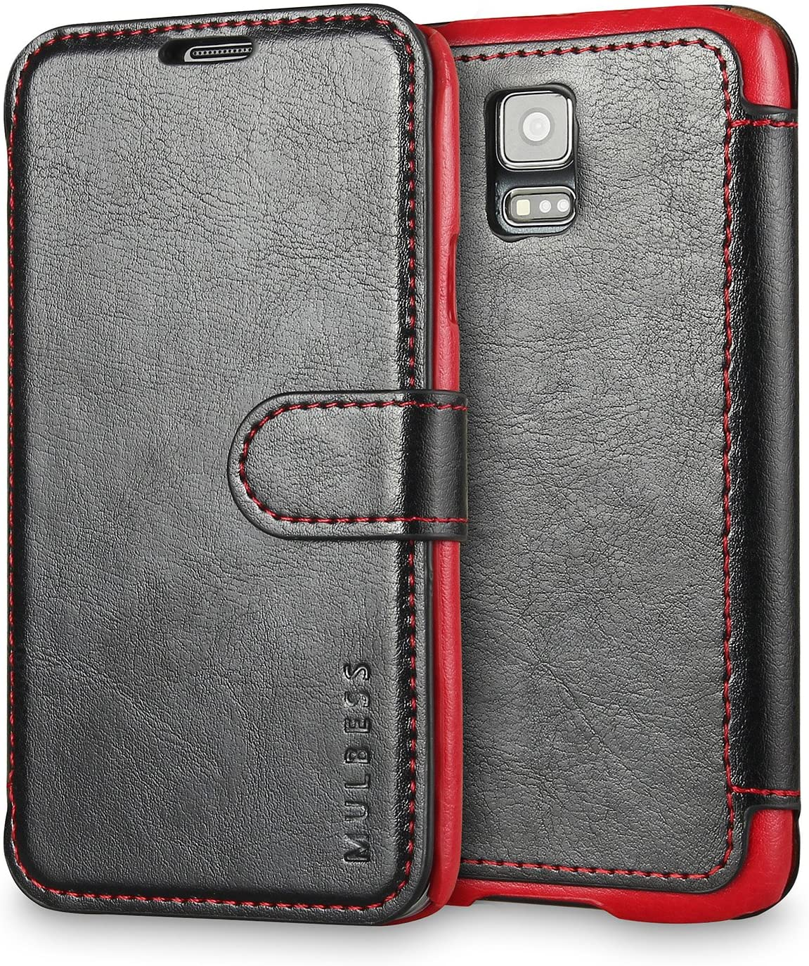 Mulbess Layered Samsung Galaxy S5 Leather Case,Flip Phone Case Wallet with Magnetic Clasp for Samsung Galaxy S5 / S5 Neo Cover, Black