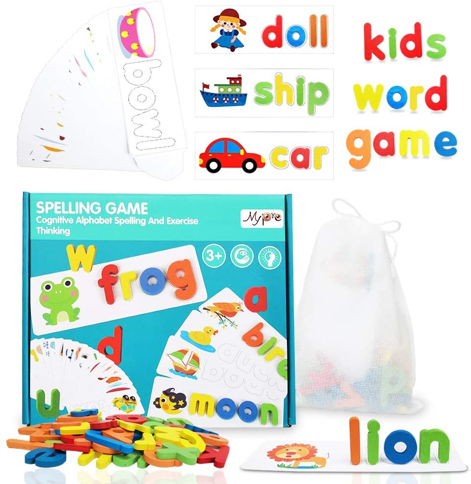 Spelling You See Matching Letter Puzzle Game for Toddlers Sight Words Flash Cards Kindergarten Wooden Alphabet Educational STEM Toys Kids Montessori Preschool Developmental Learning Toys 3+ Years Old