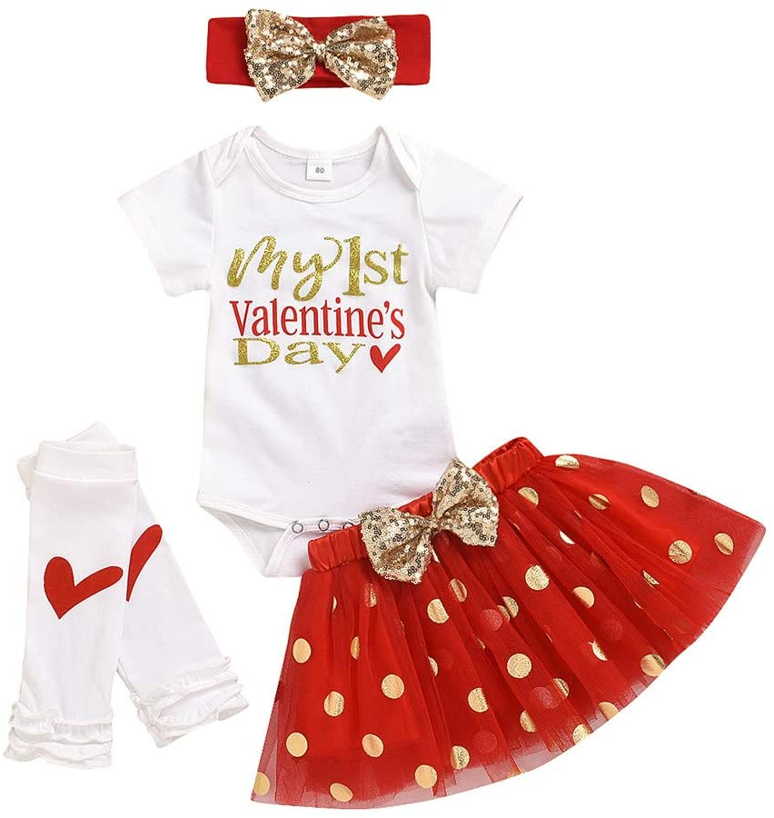 Printasaurus Outfits Clothes for Boy and Girl, Newborn Infant Baby Girl Valentine's Romper Tutu Skirt Hairband Leg Warmer Set, Girls Outfits&Set