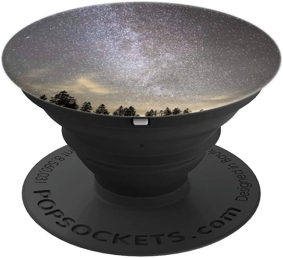 Pine Trees Gray Cool Scenic View Outer Space Stargazer Gift PopSockets Grip and Stand for Phones and Tablets