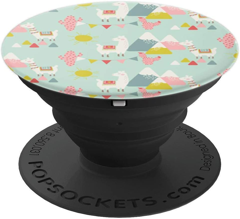 Cute Llama Pattern on Light Blue PACJ0003 PopSockets Grip and Stand for Phones and Tablets