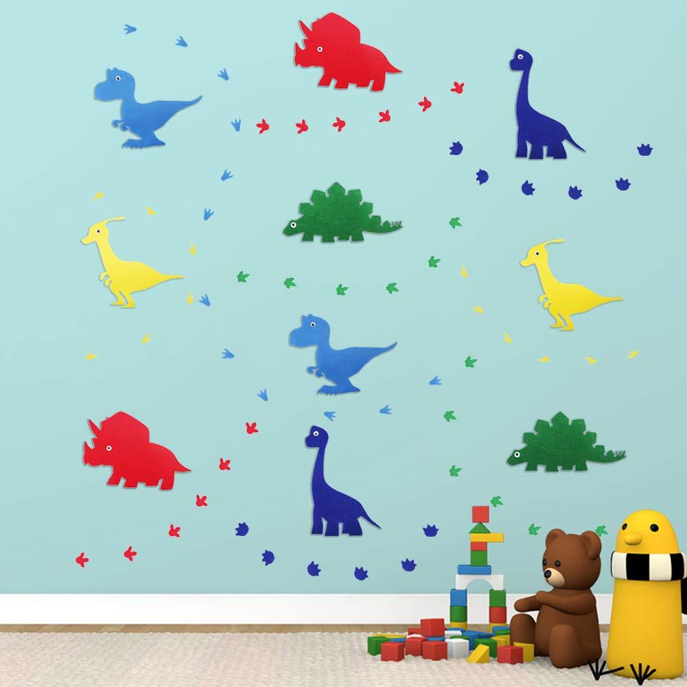 Felt 3D Kids-Dinosaur-Wall Decals Stickers Decor for Boys-Girls-Bedroom Nursery Room with Growth Chart Art Mural