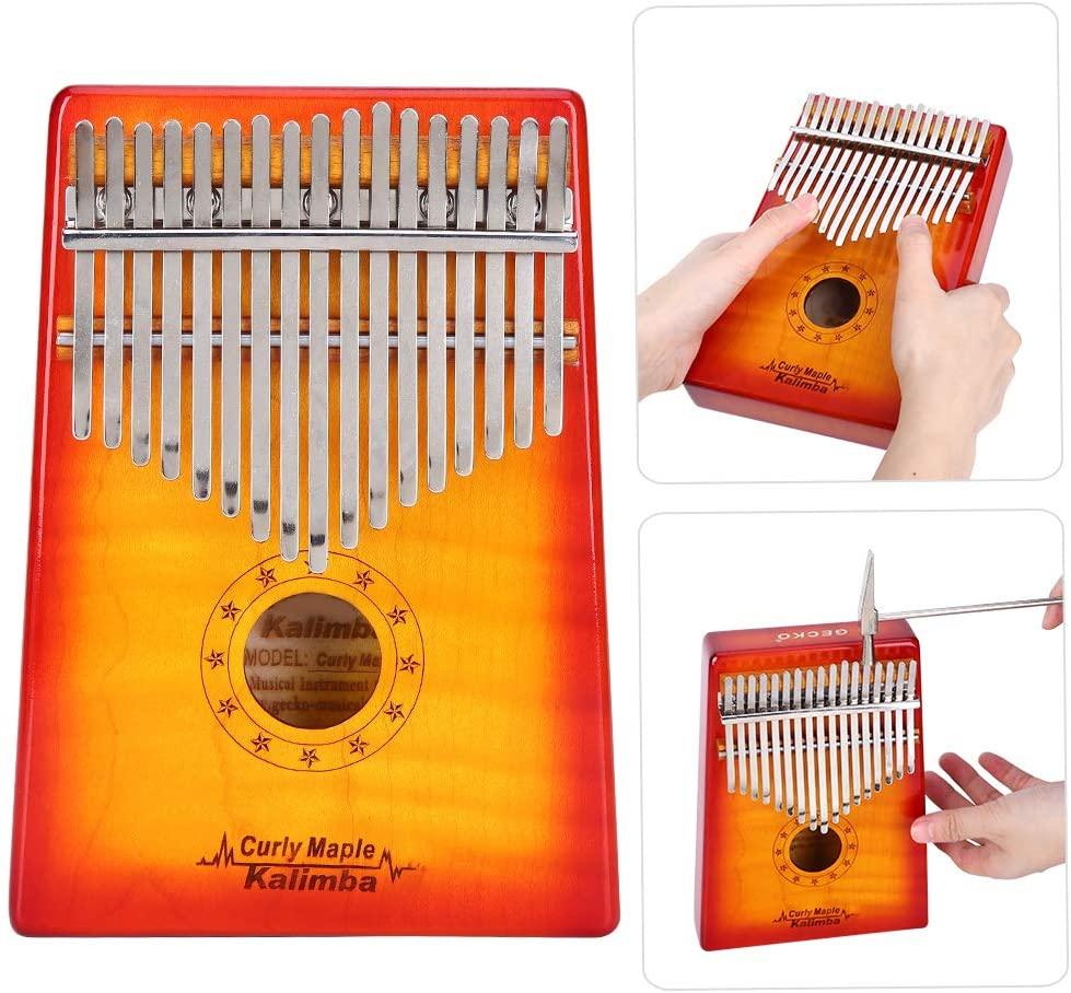 Keenso Thumb Piano Set,MC‑S Kalimba Thumb Flame Maple 17‑Key + Sound Sticker Tuning Hammer Storage Bag