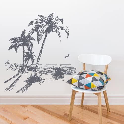 STICKERSFORLIFE Wall Vinyl Decal Sticker Kids Decal Palm Tree Beach Vacation Ocean Sea Sun Boat z2772