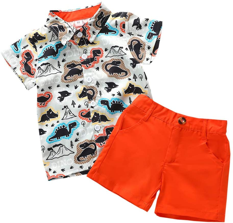 Outfits Clothes for Boy and Girl, Toddler Baby Boys Gentleman Cartoon Dinosaur Print T-Shirt Tops+Shorts Outfits, Boys Outfits&Set