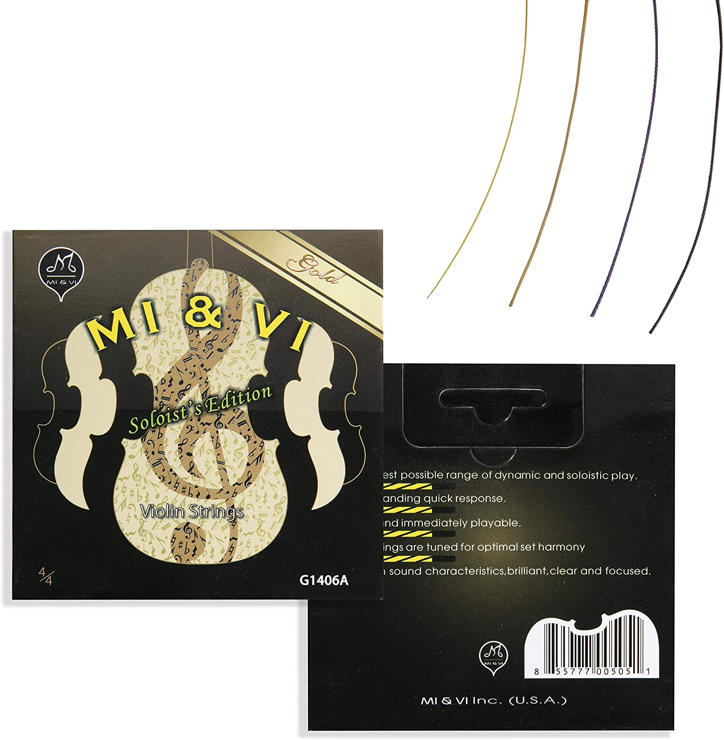 MI&VI SOLOIST'S Violin Strings — 4/4 Scale Full Set (G-D-A-E) with Golden E-String | Synthetic Core | Ball-End | Medium Gauge Tension - By MIVI Music