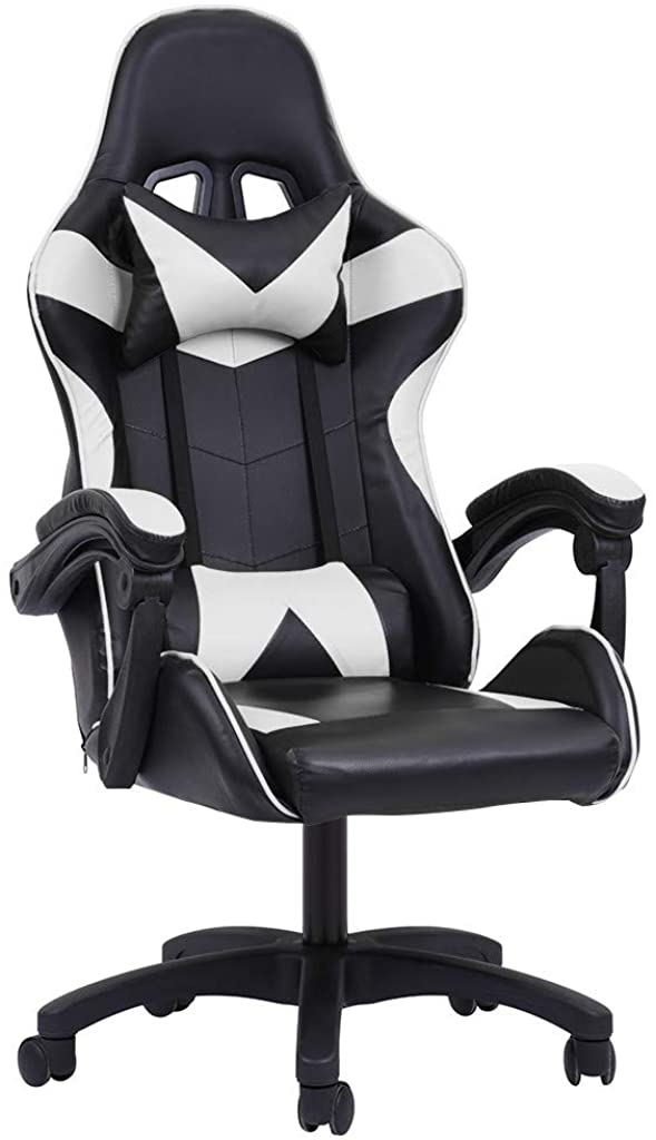Goiwiejhg Gaming Chair Adjustable Backrest Reclining Leather Office Chair