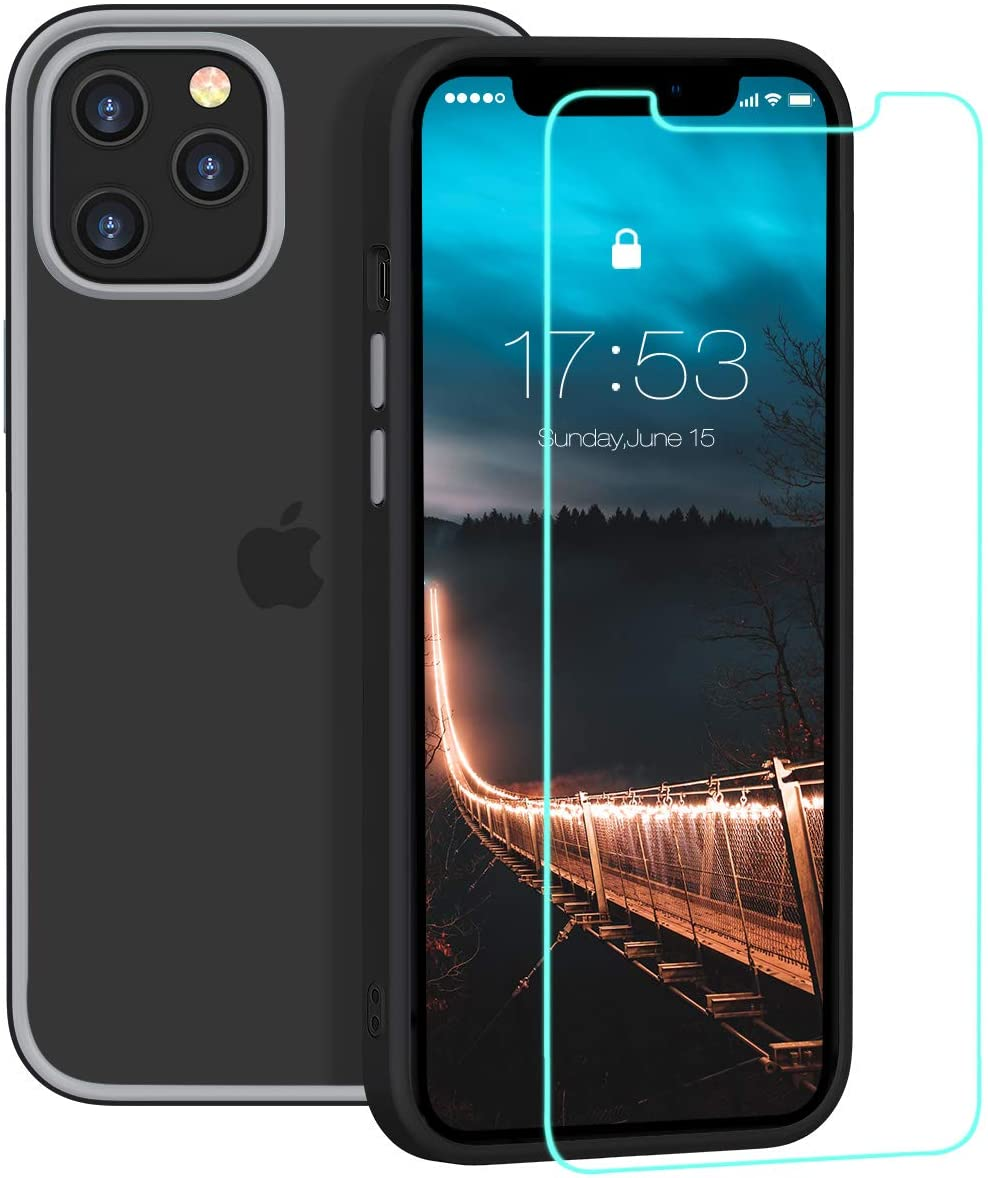 zelaxy iPhone 12 Pro Max case with Screen Protector,Shock Absorbent Protective Anti-Slip Anti-Yellow Clear Transparent Case with Colorful Bumper for iPhone 12 Pro Max 6.7 inch (Black)