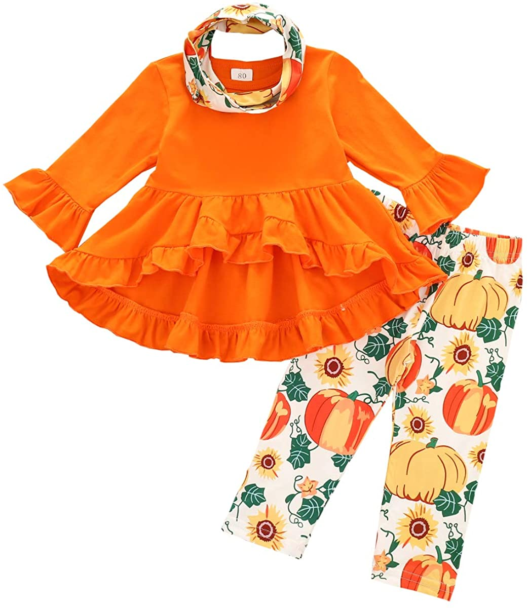 Toddler Infant Baby Girl Halloween Outfit Long Sleeve Solid Color Ruffle Dress T-Shirt Top+Pumpkin Pants+Scarf 3PCS Set