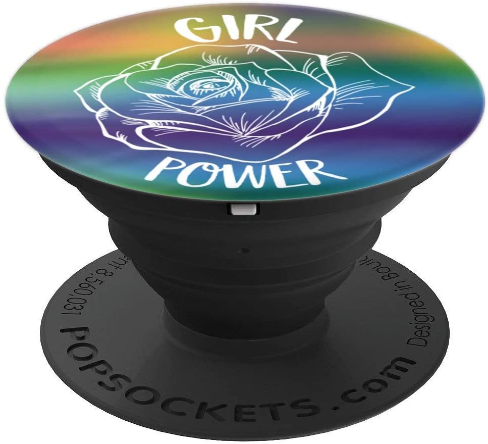 Girl Power Rose Gift For Woman Cool Feminist Quote PopSockets Grip and Stand for Phones and Tablets