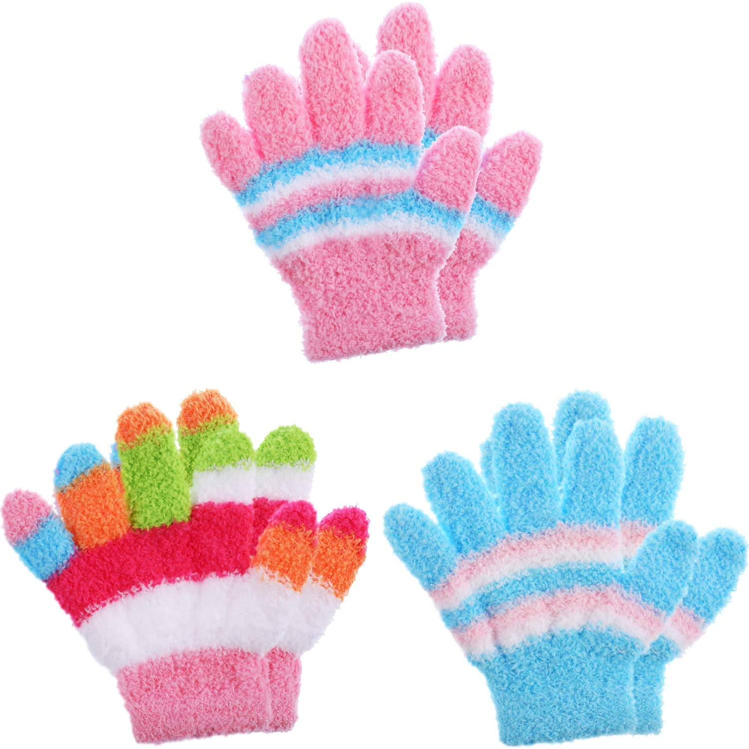 Boao 3 Pairs Kids Gloves Full Finger Mittens Winter Knitted Gloves for 1-5 Years Little Boys and Girls Supplies