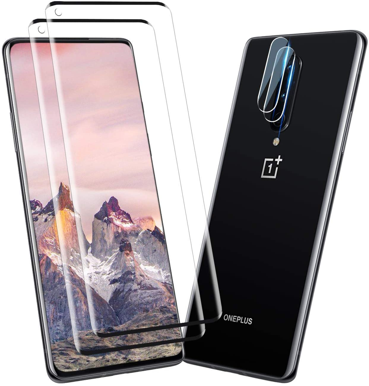 Oneplus 8 Screen Protector + Camera Lens Protectors, [2 +2Pack] Full Coverage Tempered Glass Screen Protector for Oneplus 8 5G [3D Glass] [Anti-Scratch]