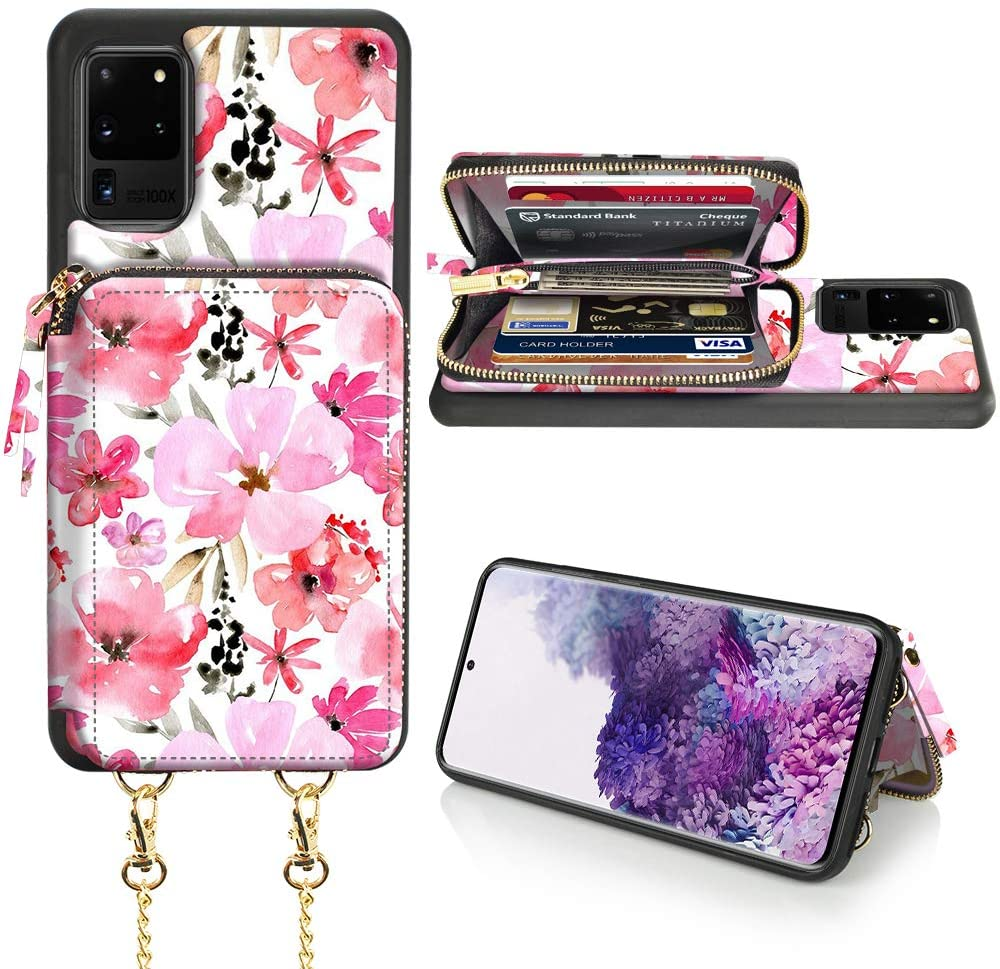 LAMEEKU Samsung Galaxy S20 Ultra Wallet Case, Samsung Galaxy S20 Ultra Case with Card Holder, Zipper Leather Case with Card Slot Crossbody Chain, Protective Cover for S20 Ultra 6.9'' - Cherry Blossoms