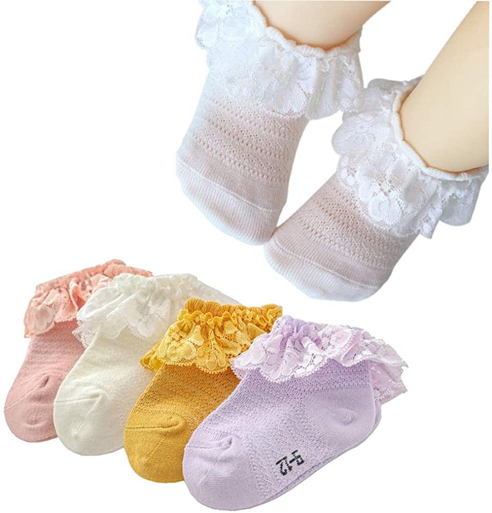Baby Girl Lace Socks Turn Cuff Ruffle Floral Socks Princess Dressy Socks Infants/Toddler