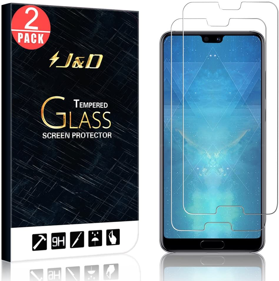 J&D Compatible for Huawei P20 Pro Glass Screen Protector (2-Pack), Not Full Coverage, Tempered Glass HD Clear Ballistic Glass Screen Protector for Huawei P20 Pro Glass Film