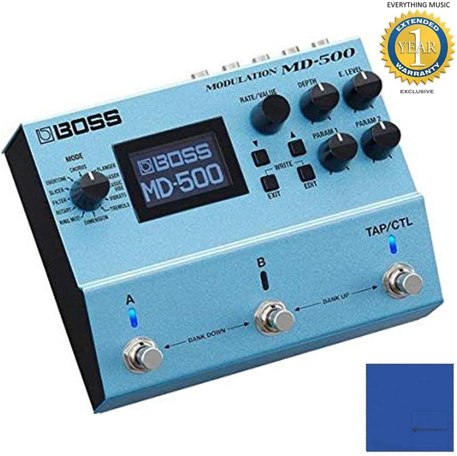 BOSS MD-500 Modulation Multi-Effects Pedal for Electric Guitars with Microfiber and 1 Year Everything Music Extended Warranty