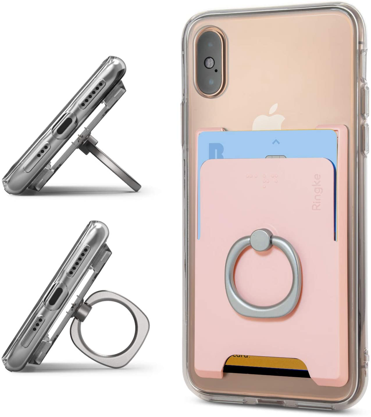 Ringke Ring Slot Card Holder Slim Hard Premium PC Credit Card Accessory Attachment with Finger Ring Compatible for iPhone, Galaxy, Pixel and More - Peach Pink