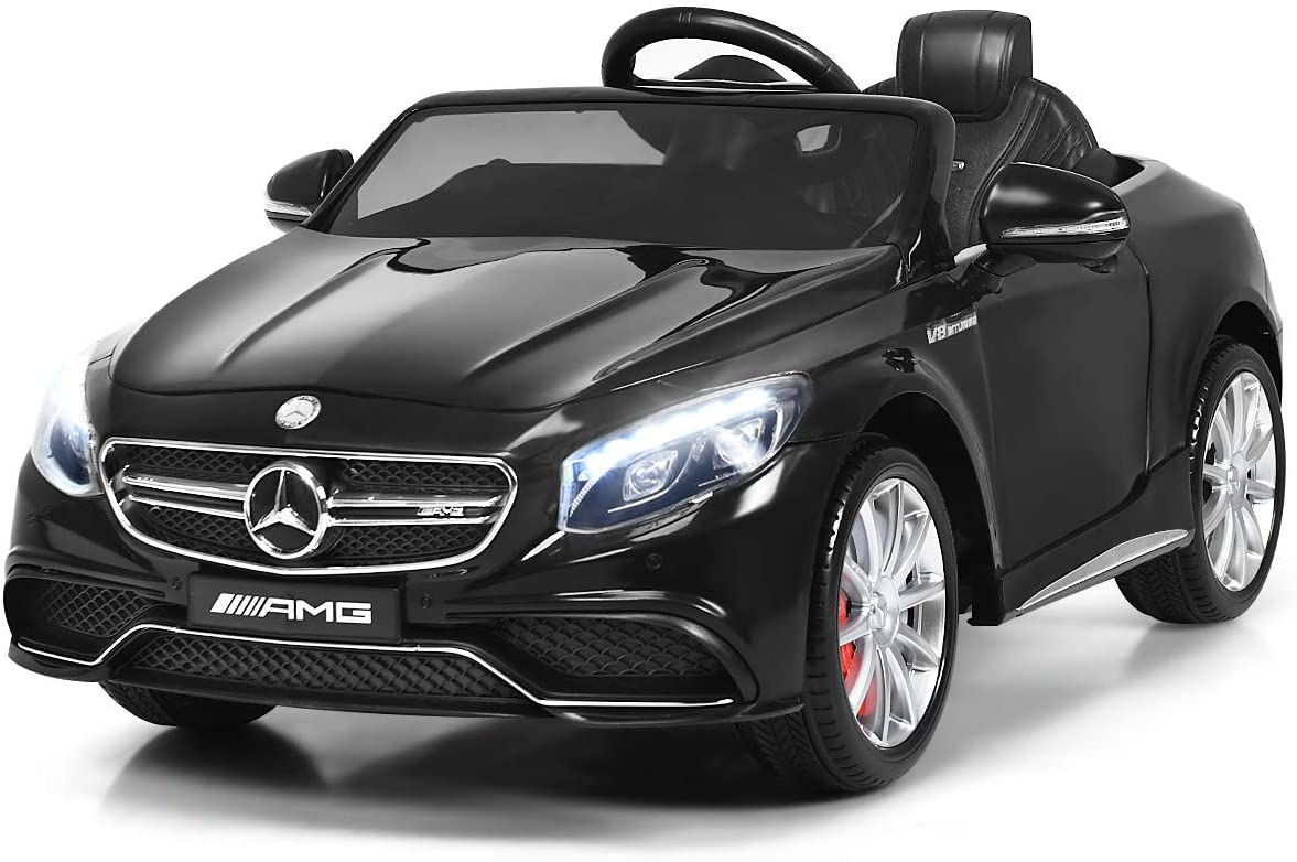Costzon Ride On Car, 12V Licensed S63 Battery Powered Electric Vehicle w/ Parental Remote Control, Headlights, Music, Horn, MP3/USB/TF, 3 Speed Kids Ride On Toy (Black)