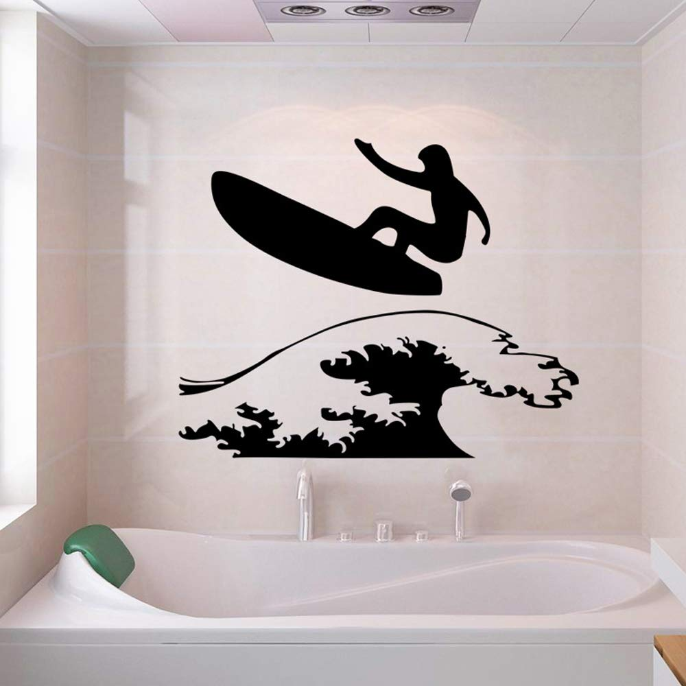 Wall Sticker with Surfing Surfer Surfboard Vinyl PVC Decoration for Bathroom Teens Room Kids Room(Size 48×68cm)