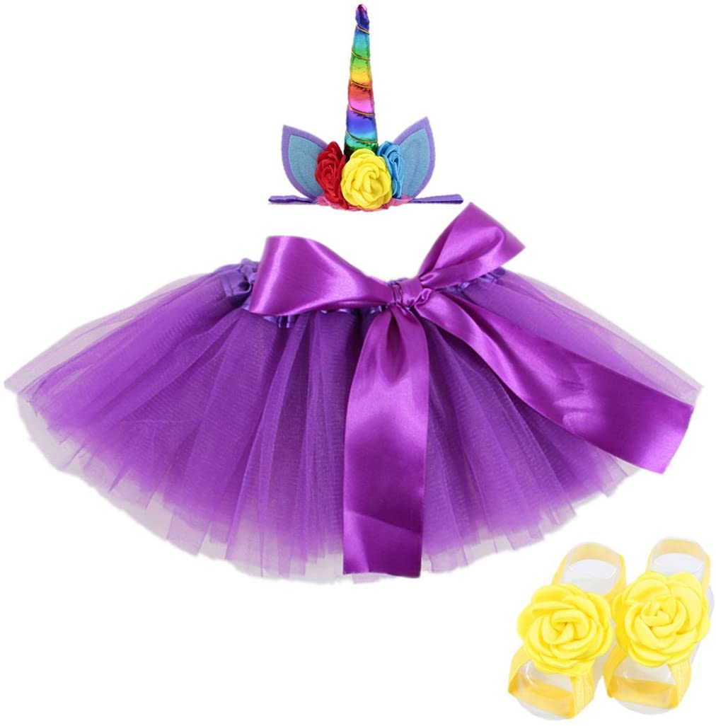 Lujuny Litter Girl Tutu Dress Horny Decor Headband Flower Foot Shoes Barefoot Sandal Set (Purple Rainbow)