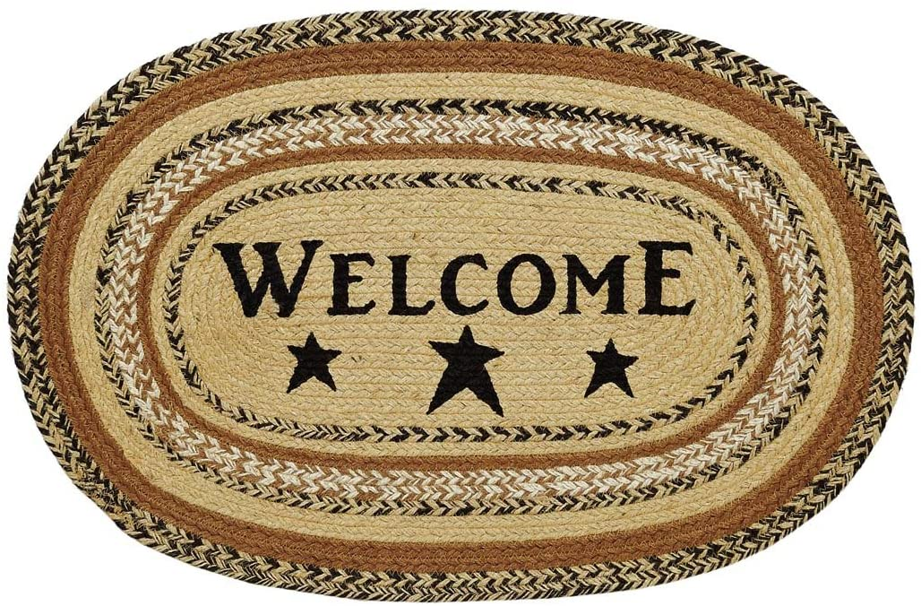 VHC Brands 10120 Primitive Flooring Prim Grove Welcome Jute Stenciled Text Oval Rug, 20x30