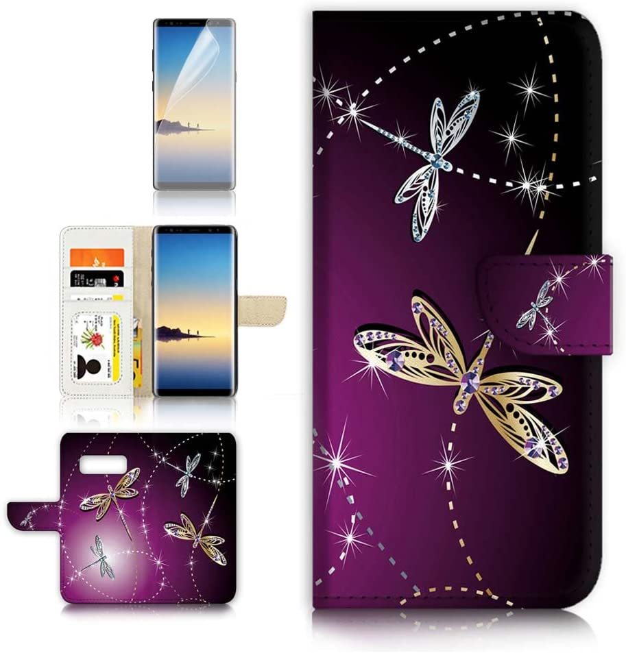 ( For Samsung Note 8 , Galaxy Note 8 ) Flip Wallet Case Cover & Screen Protector Bundle! A20232 Dragonfly Beautiful