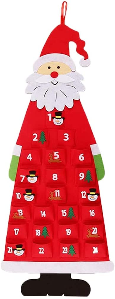 milkcha DIY Felt Christmas Tree for Kids, with Ornaments for Kids Xmas Gifts New Year Handmade Christmas Door Wall Hanging Decorations (Red)