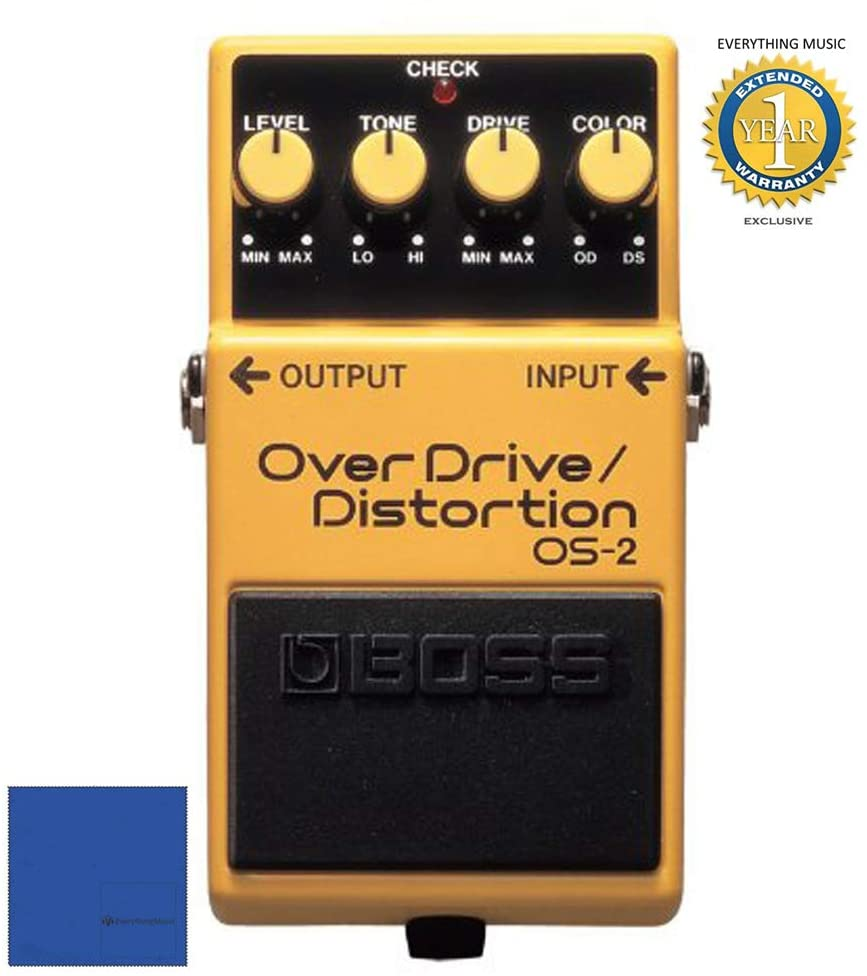 Boss OS-2 Overdrive & Distortion Guitar Effects Pedal with 1 Year Free Extended Warranty