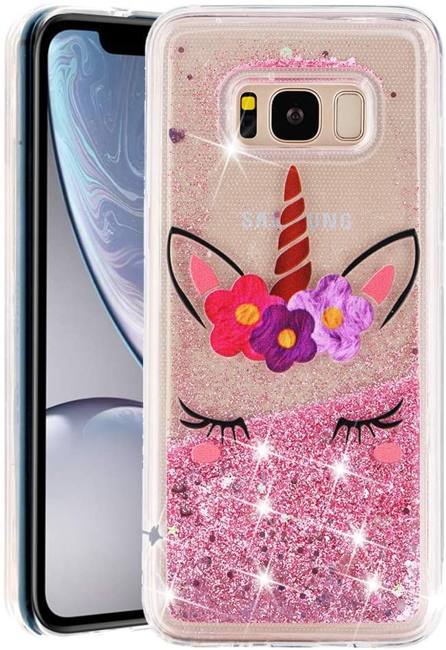 MRSTERUS Galaxy S8 Plus case Sparkling Floating Flashing Liquid Quicksand Clear and Soft TPU Silicone Shockproof Protection Bumper Thin Cover for Galaxy S8 Plus Eyelash Unicorn XYL