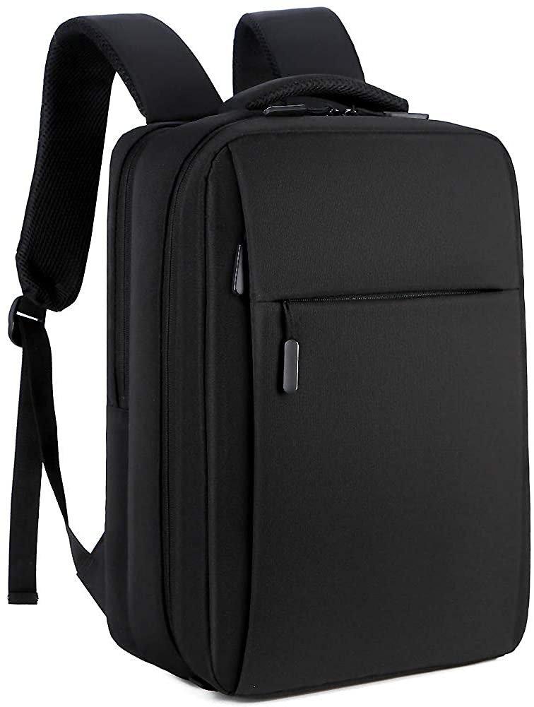 Laptop Backpack for Men 15.6 inch With USB Charging Black Business Bagpack Waterproof Durable Travel Pack College Bookbag