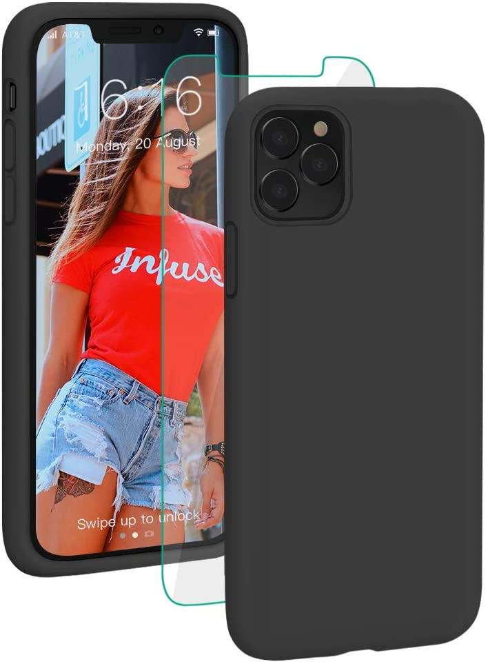 ProBien Compatible for iPhone 11 Pro Max Case, Liquid Silicone Phone Cover Case with Screen Protector Full Coverage Protective Shockproof Drop Protection Durable Shell 6.5 Inch 2019, Black