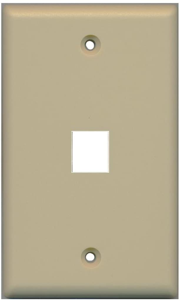 RiteAV Blank Wall Plate for Keystone Jacks - Ivory 1 Gang 1 Port