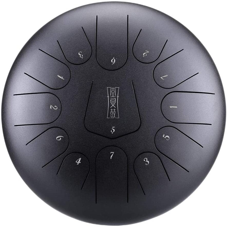 ZABB 13-Note 12-inch Steel Tongue Drum and 1 Pair of mallets for Music Education, Psychotherapy, Yoga Meditation, Percussion, Drum Percussion Set