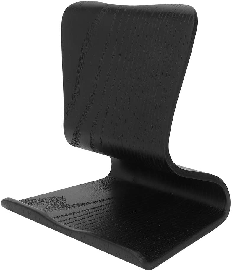 Zopsc Phone Holder Portable Wooden Cell Phone Tablet Holder Two-Way Design Universal Stand Bracket Suitable for All Kinds of Mobile Phones and Tablet(Black)
