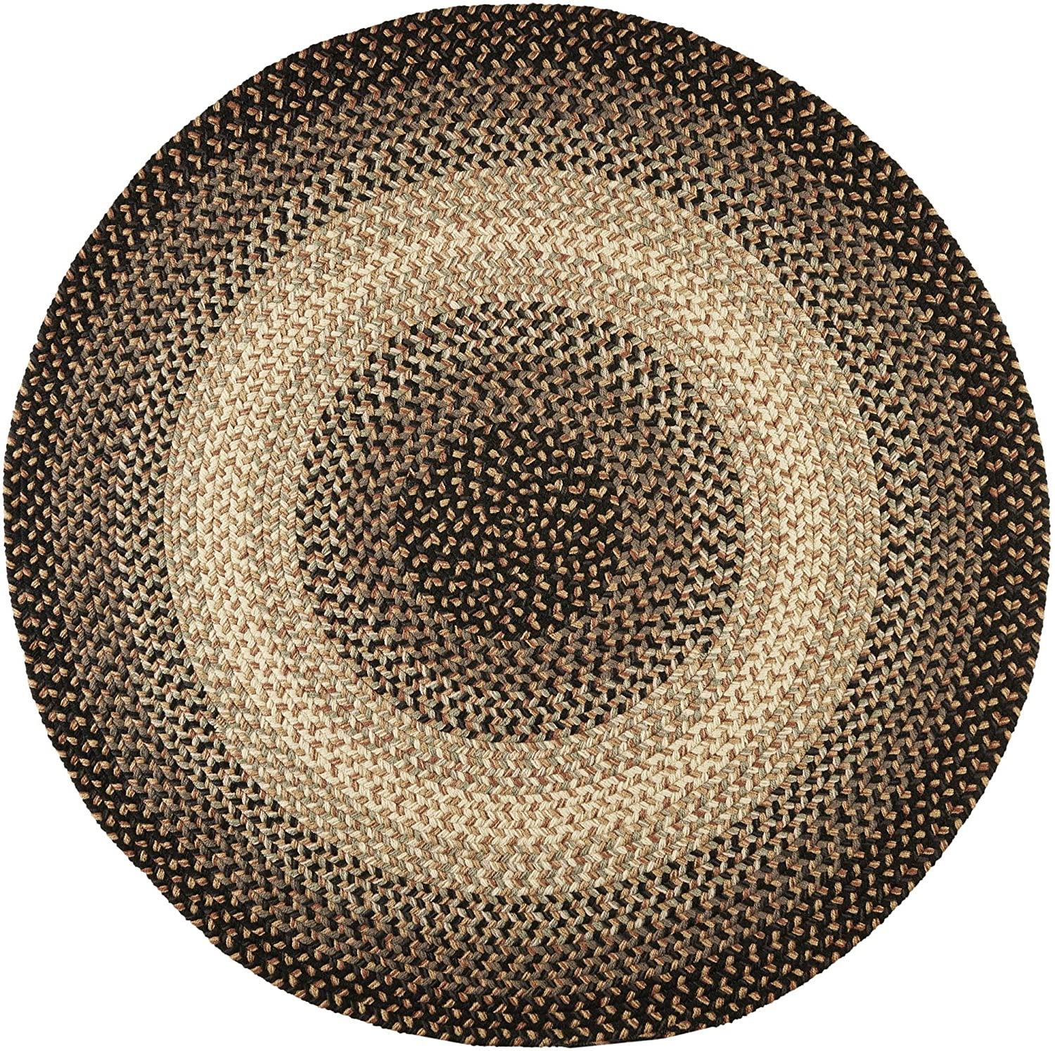 Super Area Rugs Classic Hartford Braided Rug for Indoor/Outdoor Use, Charcoal,4' X 4' Round
