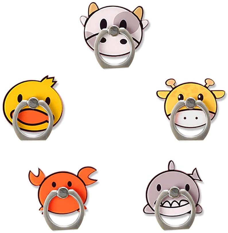 UnderReef Phone Holder Phone Stand Cute Animal Zoo Finger Ring Grip Stand 360 Swivel for Cellphones,Smartphones,Tablet (B-5 Packs)