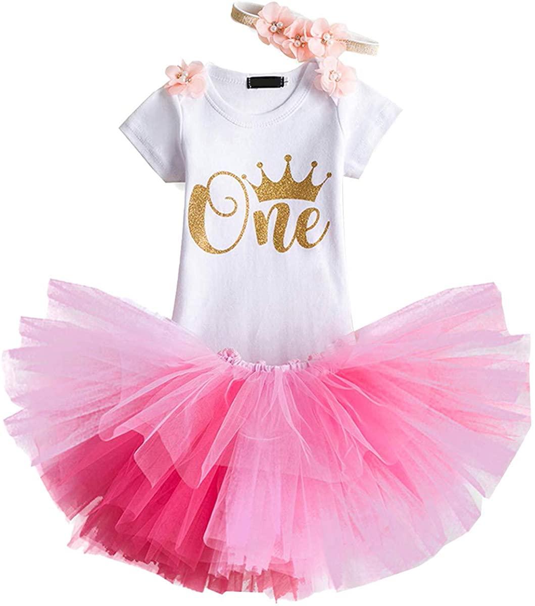 HIHCBF 1st Birthday Cake Smash 3pcs Outfits Baby Girls Romper + Tutu Skirt + Headband Princess Skirt Set for Photo Shoot