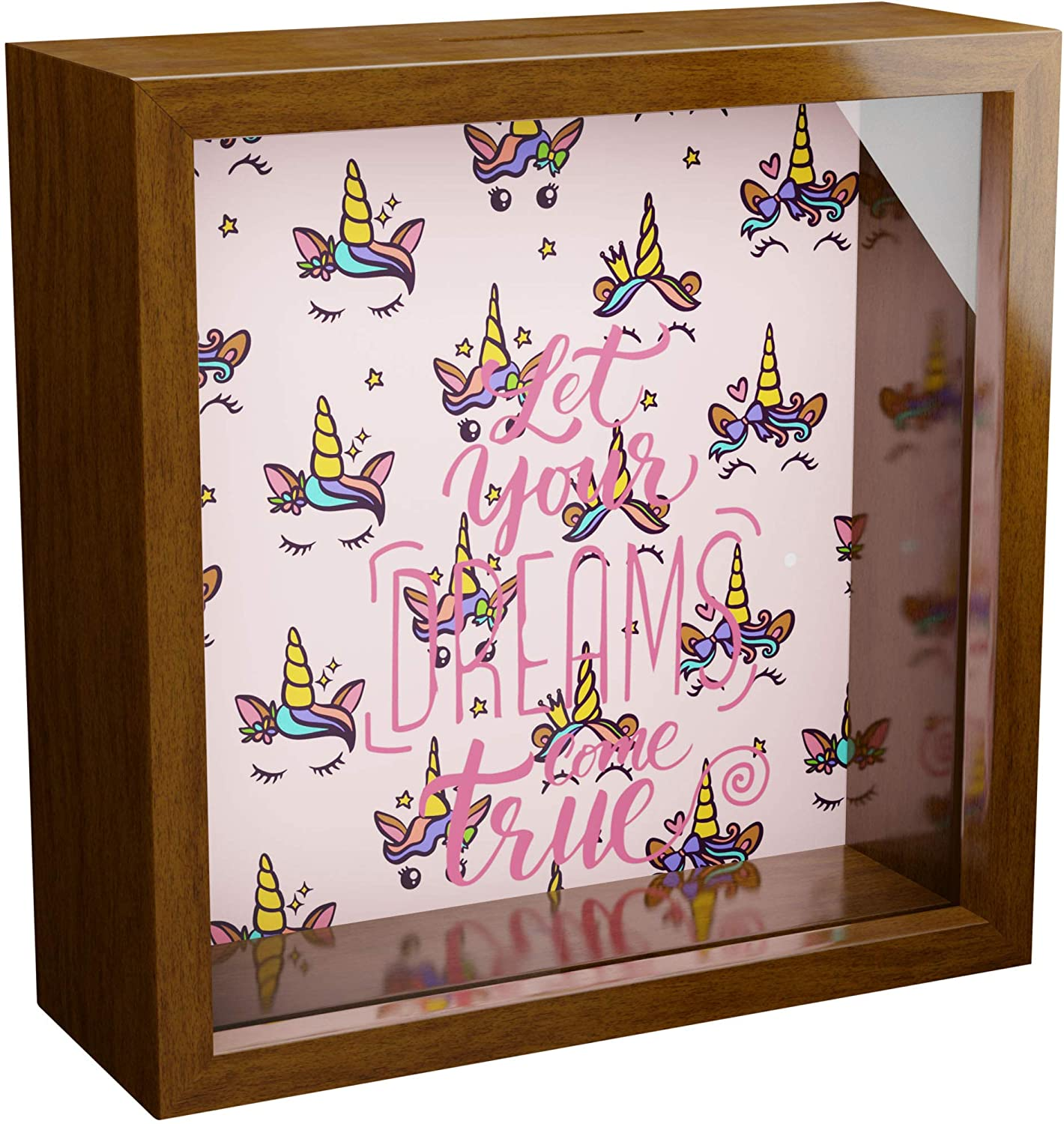 Unicorn Wall Decor | 6x6x2 Memorabilia Shadow Box | Wooden Keepsake Box with Glass Front | Special Unicorns Gifts for Girls and Women | Great Gift for Bedroom and Room Decorations