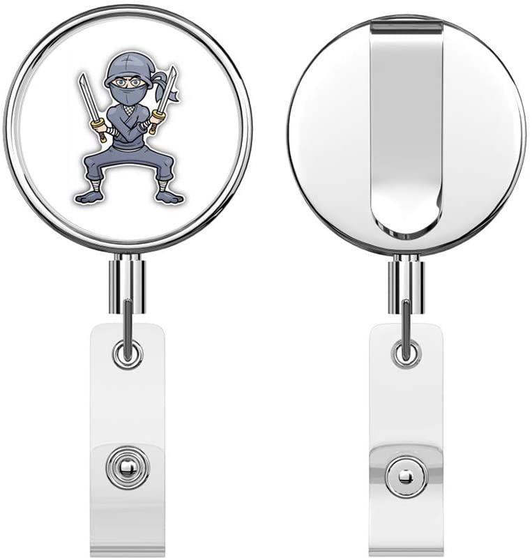 Ninja Cartoon Fighting Cartoon Retractable Reel Chrome Metal Badge ID Card Holder Clip