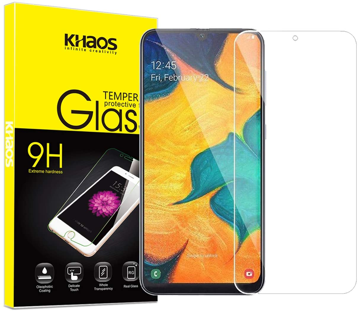 Protective Screen Guard for Samsung Galaxy A70 2019, KHAOS Tempered Glass LCD Screen Protector for Samsung A70