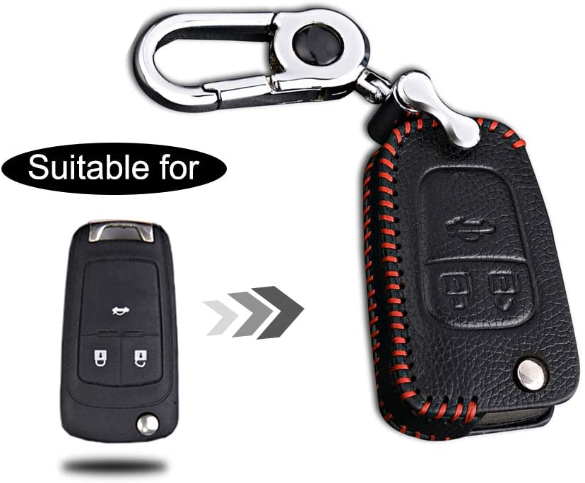 Optional Leather Car Key Fob Case Protector for Buick 3 Buttons Keyless Entry Remote Folding Key Handmade Accessories Red Line 1PC Type A