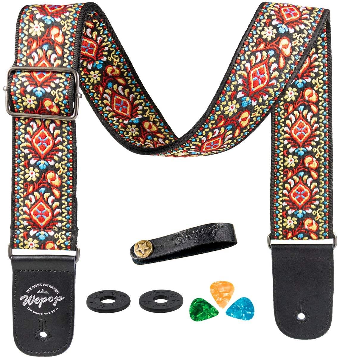 Guitar strap Bass Acoustic Electric Guitar Vantage Leather Picks Bundle Button (red)