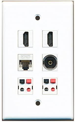 RiteAV - 2 HDMI 1 Port Toslink 1 Port Cat5e Ethernet White 2 Port Speaker Wall Plate