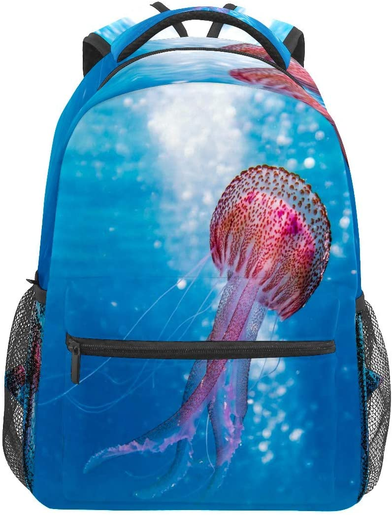 Shallow Pink Brown Jellyfish Business Laptop Backpack Travel Hiking Camping Daypack College Bookbag Large Diaper Bag Doctor Bag School Backpack Water Resistant Anti-Theft for Women&Men