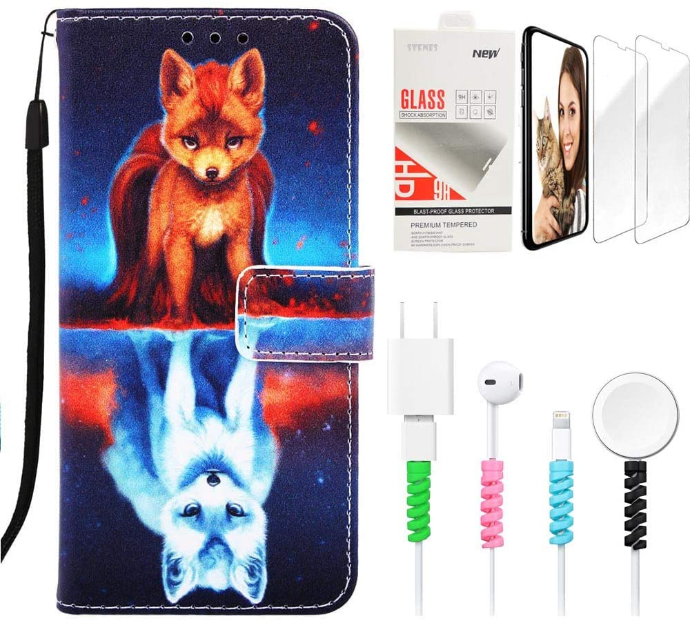 STENES Wallet Phone Case Compatible with LG Stylo 4 - Stylish Series Fox Design Stand Leather Cover with Screen Protector & Cable Protector - Blue
