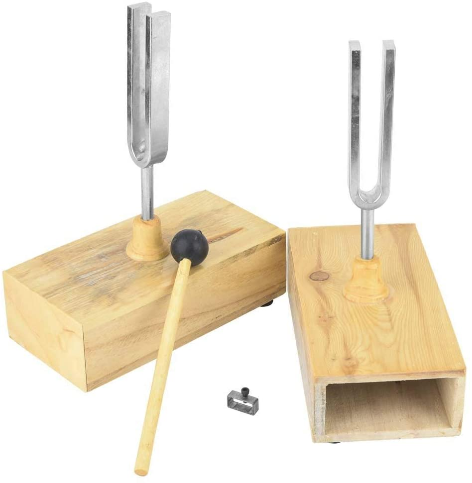 2 Pack Tuning Fork, Standard 440Hz Tuning Fork, Virbration Experimental Instrument with Wood Resonator Box & Knocker for Lab/School