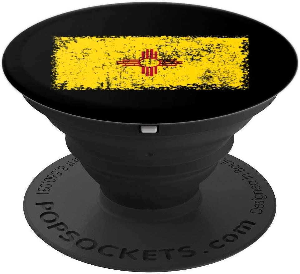 New Mexico Apparel Distressed Yellow Zia Sun New Mexico Flag PopSockets Grip and Stand for Phones and Tablets