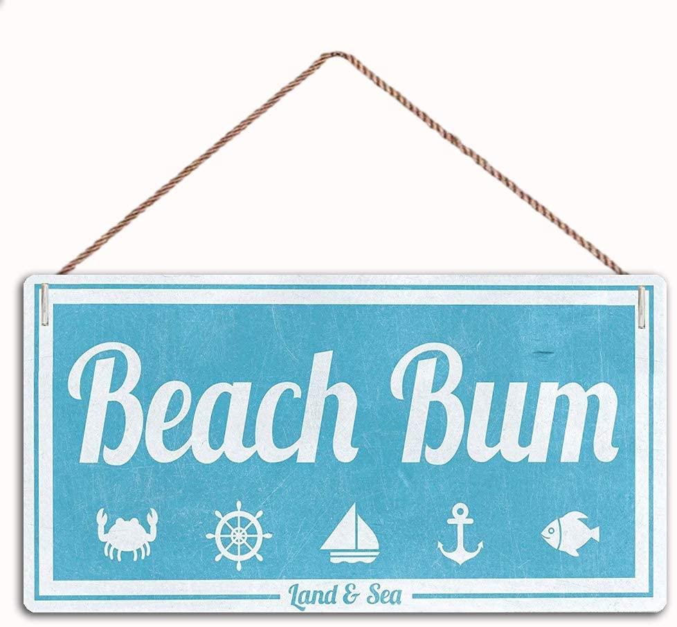 WEIMEILD Beach Bum Nautical Sign Vintage Sign,Nautical Decor Sign,Wall Door Sign,12