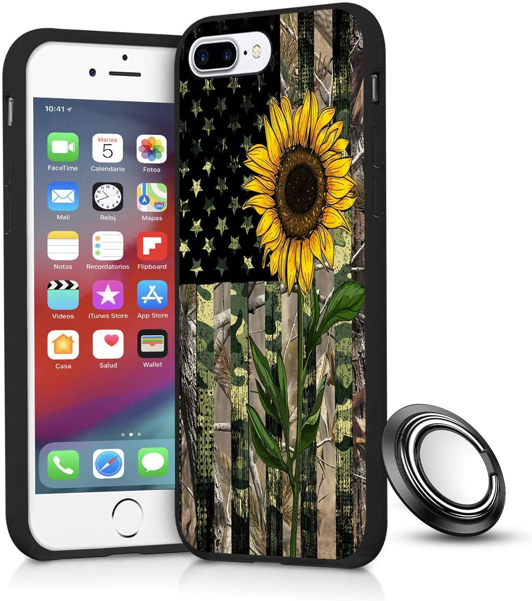 iPhone 8 Plus/7 Plus Case, Sunflower Camouflage American Flag Slim Anti Scratch Shockproof Silicone Soft Rubber TPU Protective Case Cover with Phone Ring Holder Stand for iPhone 7 Plus /8 Plus 5.5