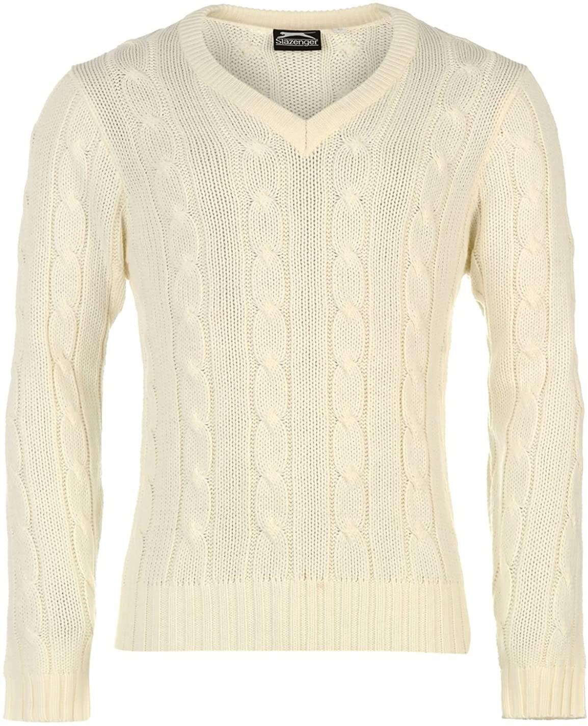 Slazenger Mens Classic Sweater Cricket Sports Jumper V Neck Long Sleeve Top
